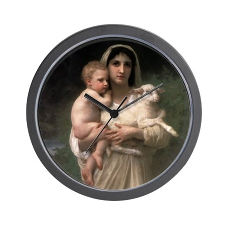 Innocence With Lamb Wall Clock