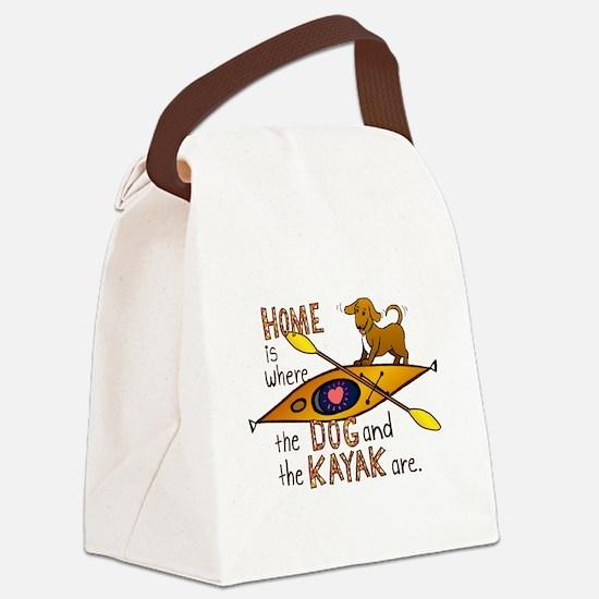 HOMEkayakDOG.png Canvas Lunch Bag