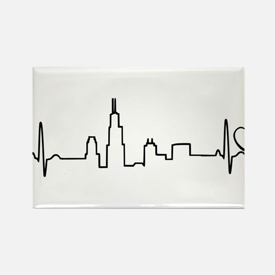 Chicago Heartbeat (Heart) Rectangle Magnet