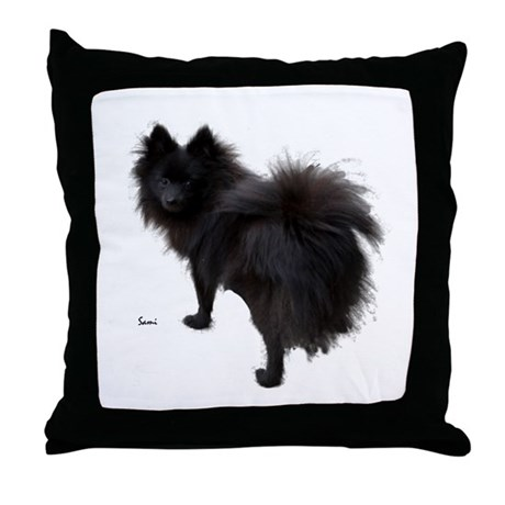 Black Pomeranian Throw Pillow