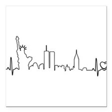 """New York Heartbeat (Heart) Square Car Magnet 3"""" x"""