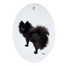 Black Pomeranian Oval Ornament