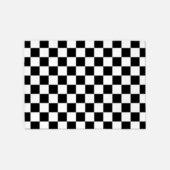Black and white checkerboard 5'x7'Area Rug