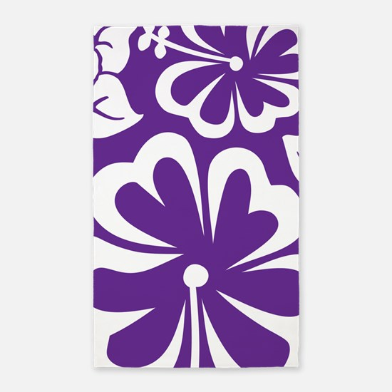 Tropical flowers purple 3'x5' Area Rug