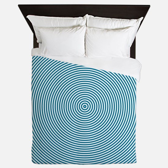 Teal Spiral Queen Duvet
