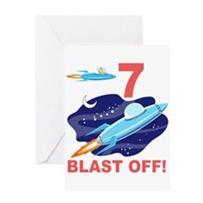 Outer Space 7th Birthday Greeting Card