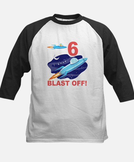 Outer Space 6th Birthday Kids Baseball Jersey