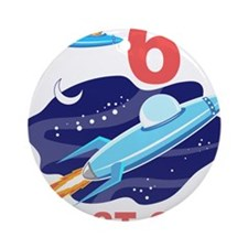Outer Space 6th Birthday Ornament (Round)