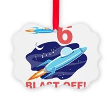 Outer Space 6th Birthday Ornament