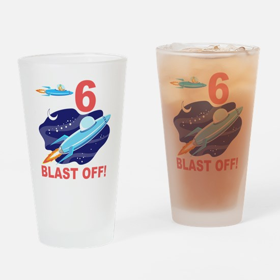 Outer Space 6th Birthday Drinking Glass