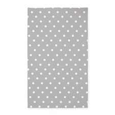 Gray and white polka dot 3'x5' Area Rug