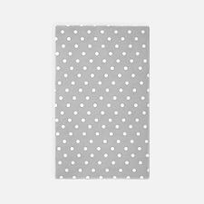 Gray and white polka dot 3'x5' Area Rug