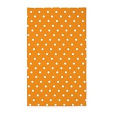 Orange and white polka dot 3'x5' Area Rug