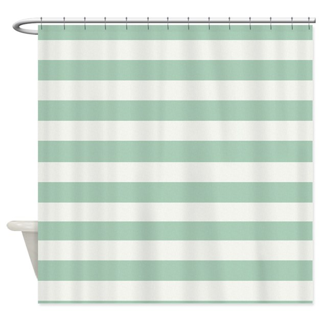 Mint And Cream Stripes Shower Curtain By Be Inspired By Life