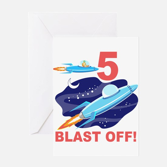 Outer Space 5th Birthday Greeting Card