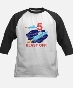 Outer Space 5th Birthday Kids Baseball Jersey