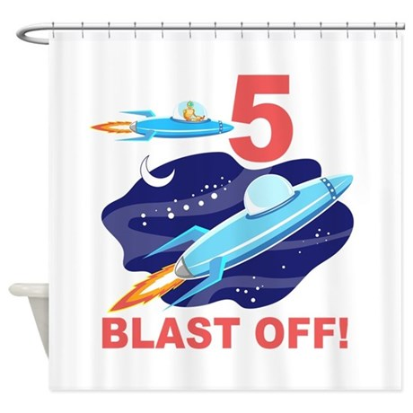 Outer Space 5th Birthday Shower Curtain By Birthdayzoo