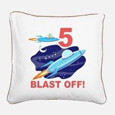 Outer Space 5th Birthday Square Canvas Pillow