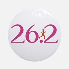 26.2 Marathon Run Like A Girl Ornament (Round)