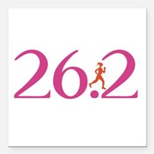 26.2 Marathon Run Like A Girl Square Car Magnet 3""