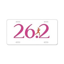26.2 Marathon Run Like A Girl Aluminum License Pla
