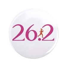 "26.2 Marathon Run Like A Girl 3.5"" Button"