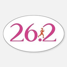 26.2 Marathon Run Like A Girl Sticker (Oval)