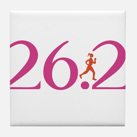 26.2 Marathon Run Like A Girl Tile Coaster