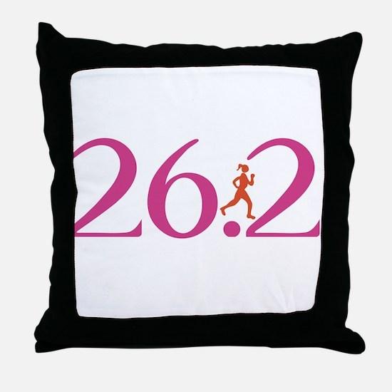 26.2 Marathon Run Like A Girl Throw Pillow