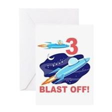 Outer Space 3rd Birthday Greeting Card