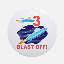 Outer Space 3rd Birthday Ornament (Round)