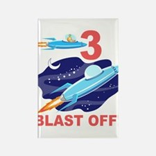 Outer Space 3rd Birthday Rectangle Magnet