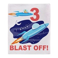 Outer Space 3rd Birthday Throw Blanket