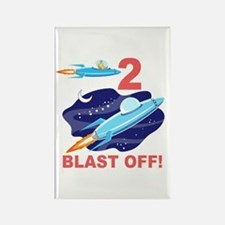 Outer Space 2nd Birthday Rectangle Magnet