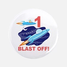 "Outer Space 1st Birthday 3.5"" Button"