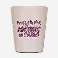 Pretty in Pink, Dangerous in camo Shot Glass