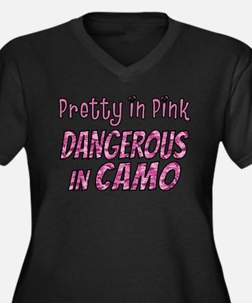 Pretty in Pink, Dangerous in camo Plus Size T-Shir
