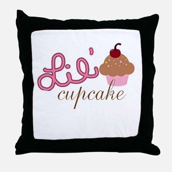 Lil Cupcake Pink and Brown Cupcake Throw Pillow