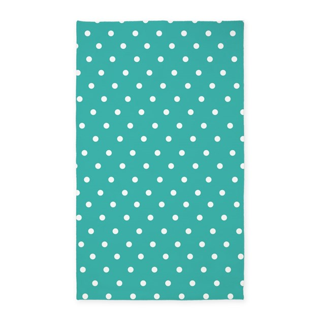 Turquoise Polka Dot 3'x5' Area Rug By InspirationzStore
