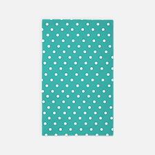 Turquoise polka dot 3'x5' Area Rug