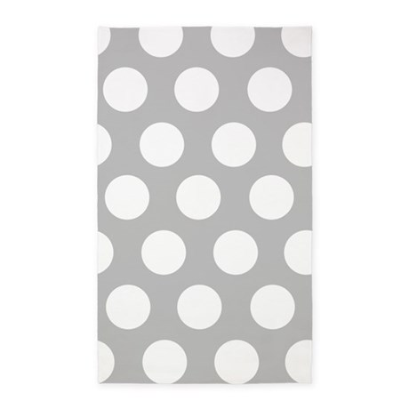 Grey large polka dot 3'x5' Area Rug