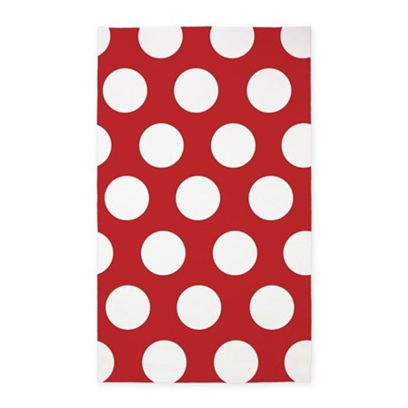 Red large polka dot 3'x5' Area Rug
