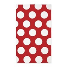 Red large polka dot 3'x5' Area Rug