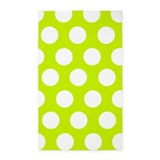 Lime Green large polka dot 3'x5' Area Rug