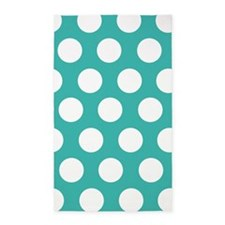 Turquoise large polka dot 3'x5' Area Rug