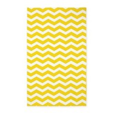 Yellow and white Chevron 3'x5' Area Rug