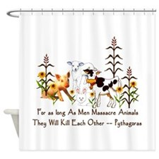Pythagoras Vegetarian Quote Shower Curtain