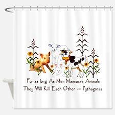Pythagoras Vegetarian Quote Shower Curtain