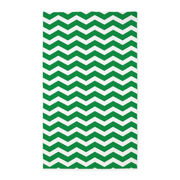Chevron Kitchen Rug: Forest Green And White Chevron 3'x5' Area Rug By