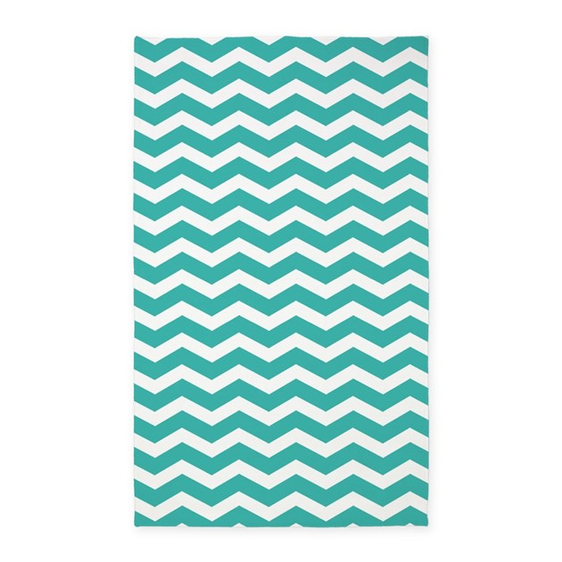 Turquoise And White Chevron 3'x5' Area Rug By